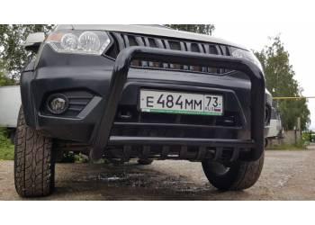 Кенгурин на УАЗ Патриот 2015 трубный с защитой двигателя, увеличенный