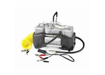 Компрессор автомобильный металлический 75 л/мин, двухцилиндровый (крокодилы + прикуриватель) 2238