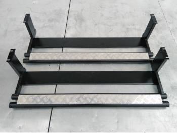 Подножки на УАЗ 469, Хантер сдвоенная труба с алюминиевыми накладками и защитой бензобаков