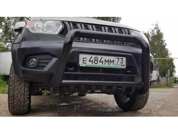Кенгурин на УАЗ Патриот 2015 трубный с защитой двигателя, средний