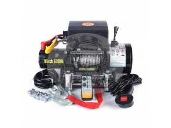Лебедка электрическая 12V Electric Winch 6000lbs / 2722 кг (3 контакта) серая
