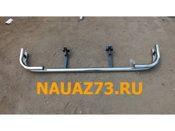 Защита заднего бампера на УАЗ Патриот с двойными углами на УАЗ 2015 г.