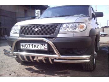 Защита переднего бампера сдвоенная на УАЗ Патриот с защитой рулевых тяг и кенгурином