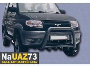 Кенгурин на УАЗ Патриот трубный с защитой двигателя, средний