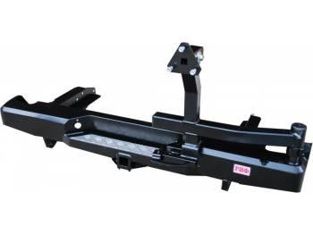 Бампер РИФ силовой задний Nissan NP300 до 2010 (кузов 1400 мм) с квадратом под фаркоп и калиткой