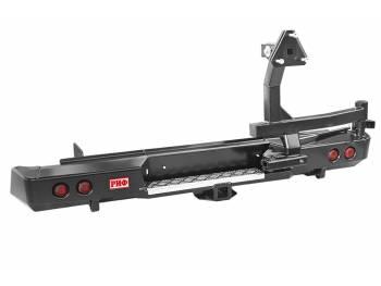 Бампер РИФ силовой задний Isuzu D-MAX с квадратом под фаркоп, калиткой, фонарями, подсветкой номера стандарт