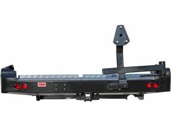 Бампер РИФ силовой задний Toyota Land Cruiser 105 с квадратом под фаркоп, калиткой и фонарями