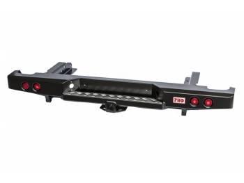 Бампер РИФ силовой задний Nissan NP300 до 2010 (кузов 1400 мм) с квадратом под фаркоп и фонарями