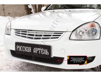 Защитная сетка решетки переднего бампера Lada (ВАЗ) Приора (хэтчбэк) 2014-2018