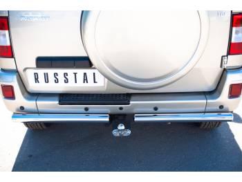 Защита заднего бампера D63 на УАЗ Патриот до 2014г.