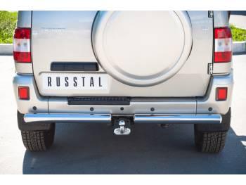 Защита заднего бампера D76 на УАЗ Патриот до 2014г.