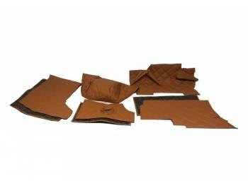 Обивка кабины УАЗ 452, Буханка (поролон, ватин) коричневый ромб, 8 предметов