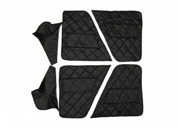Обивка дверей и центральных стоек УАЗ 469 (в/кожа, поролон, ватин) чёрный ромб