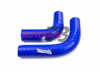 Патрубки печки ВАЗ 2121 силиконовые армированные синие (к-т 2 шт)