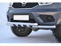Защита переднего бампера двойная с клыками 63/63мм (НПС) UAZ PATRIOT 2014-