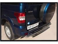 Накладка на задний бампер (лист нерж зеркальный) на УАЗ Патриот с 2014г.