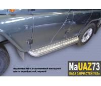 """Комплект подножек на УАЗ 469 """"Хантер"""" усиленные с алюминиевыми накладками и защитой бензобаков"""