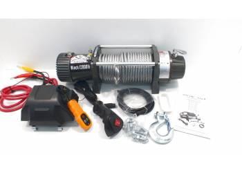 Лебедка электрическая 12V Electric Winch GRIZZLY G-1 12000lbs / 5443 кг (блок+механизм IP66) со стальным тросом, съемный блок управления