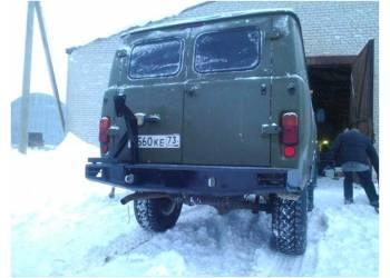 Бампер силовой задний Аллигатор с калиткой запасного колеса на УАЗ 452