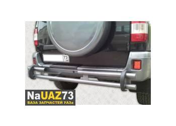 Защита заднего бампера на УАЗ Патриот Пикап усиленная