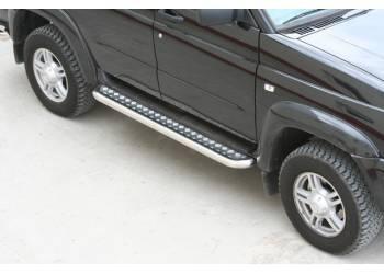 Пороги ТП на УАЗ Патриот с алюминиевой площадкой, прямые (нерж.)