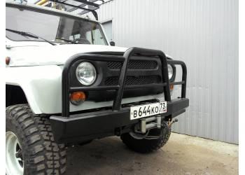 Бампер Вездеход передний усиленный с кенгурином на УАЗ Hunter, сталь 3 мм